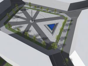 Pohled na náměstí se slunečními hodinami