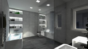 Interiér koupelny - osvětení