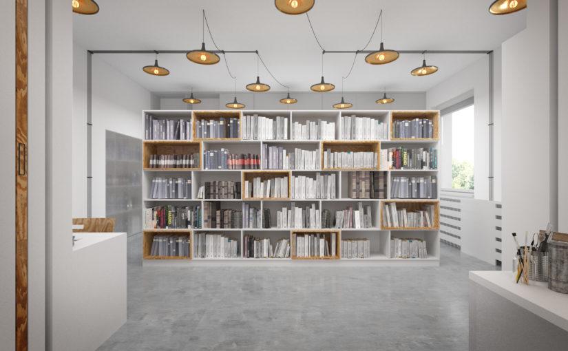 Knihovna s novými úložnými prostory a osvětlením