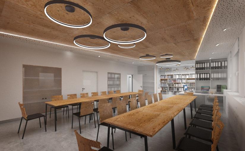 Pohled z víceúčelového sálu na oddělenou knihovnu