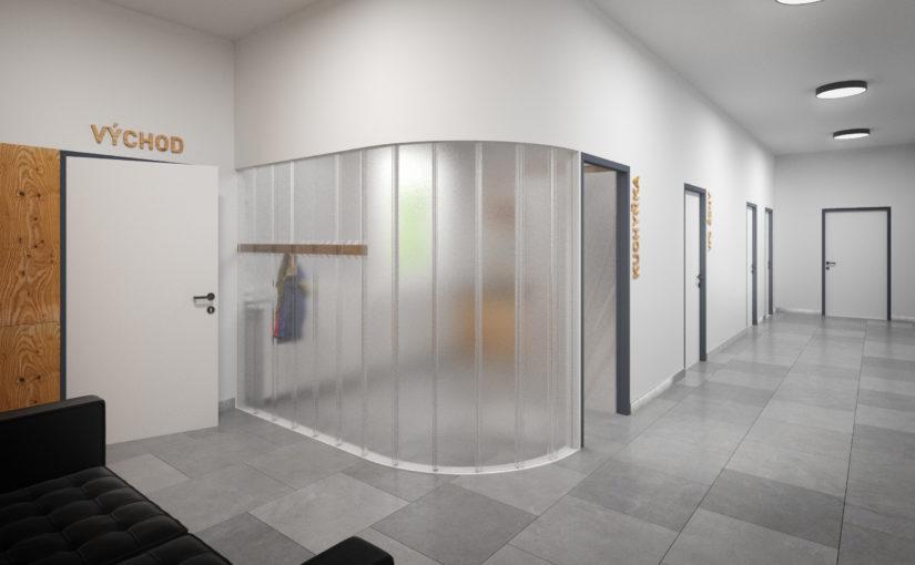Kopilitová stěna mezi chodbou a kuchyňkou